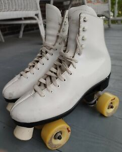 Preowned White Dominion Canada Roller Skates Womens Size 8/8.5