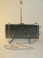 INC International Concepts Carolyn Black Jewel Frame Clutch Chain Bag $79