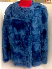Dries Van Notebook Fur Jacket Royal Blue Lamb Medium NWT$9735