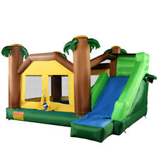 Goplus Inflatable Moonwalk Jungle Bounce House Jumper Bouncy Jump Bouncer Castle