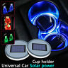 2x Car Solar Cup Holder Bottom Pad Cover LED Light Atmosphere Lamp For All car