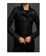 BODA SKINS - Kay Michaels Quilted Leather Biker Jacket - Black - Size 10 -  VGC