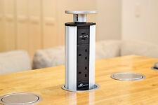 Silver UK Power Point Pop Pull Up Socket Plug USB Table Kitchen Desk Floor USB