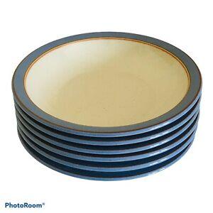 "4x Denby Pottery Heritage Fountain Blue Shallow Rim Bowls 8.5"" 21cm 1st Quality"