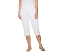 Denim & Co. Pull On Stretch Capri Pants With Crochet Detail Size 14 White Color