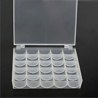 25 Spools Bobbins Sewing Machine Bobbin Case Organizer Storage Clear Box Case