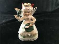 Vintage Napco March Birthday Angel Holding Shamrock C1363 Spaghetti Fur