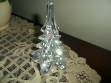 FENTON GLASS CLEAR IRIDESCENT CHRISTMAS TREE WITH SNOWFLAKES