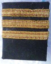 Vintage 3 Straight Bars Shoulder Board Rank Custom Pilot Captain Epaulette- USED