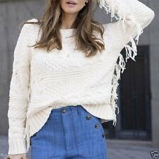ZARA KNITED SWEATER WITH FRINGES JACKET PULLOVER JACKE FRANSEN PONCHO ONE SIZE M