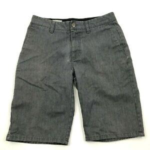 Volcom Shorts Youth Size 29 Waist Gray Chino Flat Front Zipper Fly Boys Kids