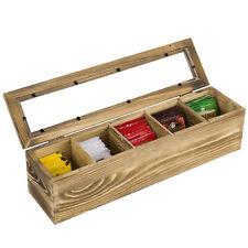 The port /'herbal teas Box Bags Tea 1 Compartment Wood Bomboniere glass