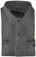 NEW RARE RALPH LAUREN BLACK LABEL DENIM JEAN TEXAS WESTERN STYLE SLIM SHIRT XL