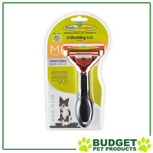 FURminator Deshedding Brush Comb Tool Metallic Rose For Long Hair Medium Dogs
