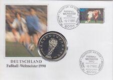 BRD Numisbrief Fußball mit Italien Gedenk Medaille 1990