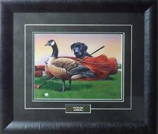 """Phillip Crowe """"The Club Pro"""" Lab PuP with Goose Golfing Print-Framed"""