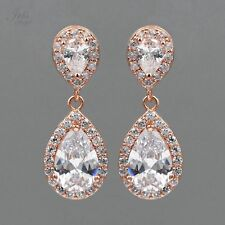 ROSE GOLD Plated Cubic Zirconia CZ Wedding Bridal Drop Dangle Earrings 06155 New