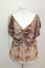 Chloe Damas de manga corta de seda beige se reunieron perla detalle Blusa Prenda para el torso IT38 UK6