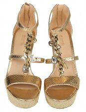 NEW$175 Michael Kors Suki Gold Leathr MK Charms Wedge Sandals Sz 8.5