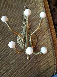 Brass 3 double hooks hat / coat wall hanging rack