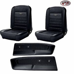 Deluxe PONY Seat Upholstery 1964 - 1966 Ford Mustang + Pony Door Panels - Black