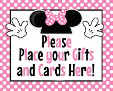 Disney Baby Minnie Mouse STAND UP 8.5x11 Cardstock Place Shower Gifts Sign Pink