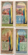 4 Venezuela Pre-WWII Trade Ad Cards Showing Postage Stamp Flag