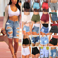 Womens Ladies High Waist Stretch Ripped Denim Jeans Shorts Hot Pants Summer Suit