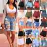 Womens Shorts Denim Summer Skinny Ripped Hot Pant Beach Holiday Trousers Jeans