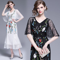 Women's V-neck Embroidered Lace Mesh Long Dress High Waist Short Sleeve Dresses