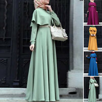 Womens Muslim Robe Abaya Jilbab Islamic Cloak Vintage Long Cocktail Maxi Dresses