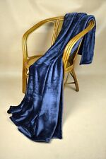 Navy Blue Soft Micro Plush Flannel Throw King Size Blanket New