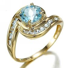 Classic Size 10 Aquamarine 18K Gold Filled Fashion Wedding Rings For Woman Halo