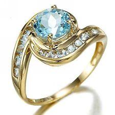 Halo Elegant Size 7 Round Cut Aquamarine 18K Gold Filled Fashion Women's Ring