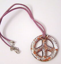 New Glass Peace Symbol Necklace Silver & Gold Foil Purple with Suede Cord