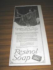1921 Vintage Ad Resinol Soap Pretty Lady Looks in Hand Mirror