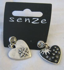 earrings in heart sun and crystal 2.5 cm drop black with silver colour metal