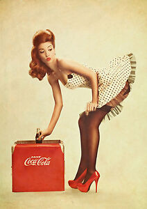 Vintage Coke Pin Up Girl Giant Poster - A0 A1 A2 A3 A4 Sizes
