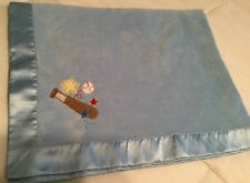 Circo Baby Blanket Blue Satin Velour Baseball Bat Star Lovey Security
