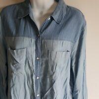 Hollister Denim Jean Long Sleeve Shirt Light Blue Women's Size Small S Button Up