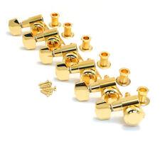 LEFTY Schaller Gold LOCKING 6 Inline Tuners for Strat/Tele® Guitar TK-0974-L02