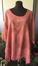 Size 16,18,20,22, Tunic, Coral, Pink, Vibrant, Lagenlook, Lace Details, Lovely!