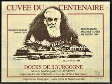 Etiquette Vin -1984. Hautes Cotes De Nuits -Docks De bourgogne-Ch. Debost -N°52