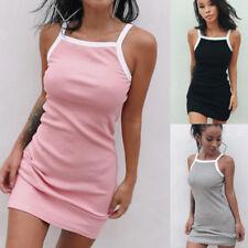UK Womens Holiday Strappy Cotton Rib Ladies Summer Beach Mini Bodycon Sun Dress