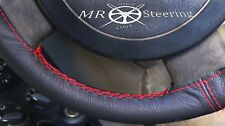 FOR NISSAN PATROL 1997-2010 BLACK LEATHER STEERING WHEEL COVER RED DOUBLE STITCH