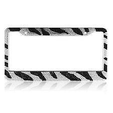 Zebra Crystal Rhinestones License Plate Frame Black and Clear