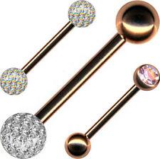 Zungenpiercing Rosegold Rose Gold EPOXY KRISTALL ZIRKONIA Piercing Stecker Zunge