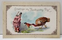 Thanksgiving Greeting Turkey Taking Girls Doll Embossed Postcard B11