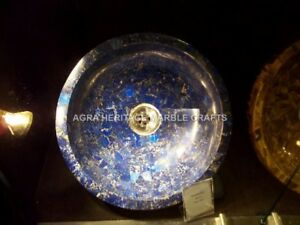 Vintage Marble Wash Basin Lapis Inlay Rare Arts Decorative Bathroom Decor H4989