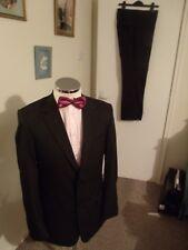 "NEXT Dark Brown Stripe Men's Two-Piece Suit C40"" Regular W34"" L31"" Classic Fit"